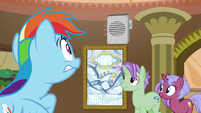 Rainbow Dash listening to announcement S8E5