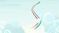 Rainbow Dash zooms through the clouds S9E3