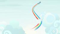 Rainbow Dash zooms through the clouds S9E3