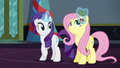 Rarity puts holly in Fluttershy's mane S6E8.png