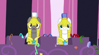 Royal guards look at the surprise party S9E4