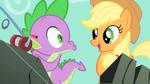 Spike about to kiss Applejack S1E19