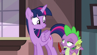 Spike holding a scroll and quill unamused S6E22