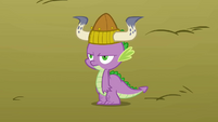 Spike wearing a Viking helmet S1E13