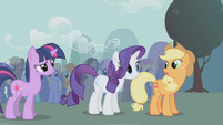 Twilight, Rarity, and Applejack talking S1E06
