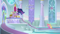 Twilight, Spike, and Luster in throne room S9E26