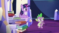 Twilight and Spike hear Sludge enter S8E24