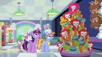Twilight finishes stacking the stuffed toys S7E3