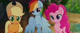 AJ, Rainbow, and Pinkie looking at Twilight MLPTM