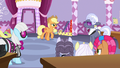Applejack talks to contest ponies and judges S7E9.png