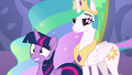 Celestia and Twilight smiling for medal recipients S7E1.png