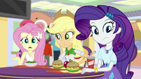 Fluttershy, AJ, and Rarity listen to Sunset EGS3