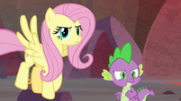 Fluttershy and Spike glare at Garble S9E9