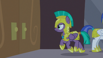 Guard Chrysalis approaches castle doors S9E17