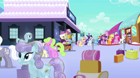 Mane 6 at the Empire train station S3E12