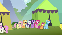 Mane Six and Scootaloo arrive at stadium S8E20