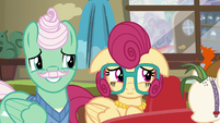 Mr. and Mrs. Shy smiling nervously S6E11
