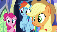 Pinkie, Rainbow, and AJ look at Twilight S8E15