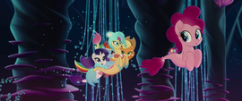 Pinkie Pie's friends pushing Princess Skystar MLPTM