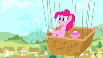 Pinkie Pie making a bubble shaped like a pony S4E12