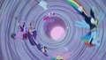 Power Ponies whirling inside the tornado S4E06.png