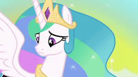 Princess Celestia looking at her cutie mark S7E10