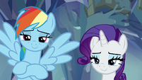 Rainbow Dash and Rarity looking proud S8E22