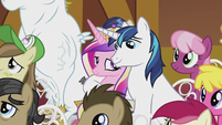 Shining Armor with hoof around Cadance S5E9