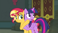 Sunset turns Twilight's face toward Celestia EGFF