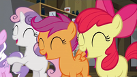 The Cutie Mark Crusaders laughing at Diamond Tiara S02E23