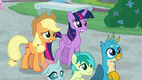Twilight, AJ, and students watch with worry S8E21