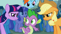 Twilight, Rainbow Dash and Applejack are angry at Spike S01E06.png