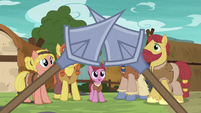 Villager ponies watching spears clash S7E16