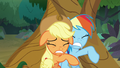 AJ and Rainbow stuck between the trees S8E9.png