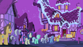 Line of ponies outside Sugarcube Corner S4E14.png