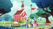 Mane Six outside the Ponyville Schoolhouse S5E19