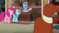Mrs. Trotsworth points at cloaked Caballeron S7E18