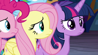 Pinkie and Fluttershy look to Twilight S9E2
