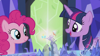 Pinkie and Rainbow's cutie marks spinning around Griffonstone S5E8