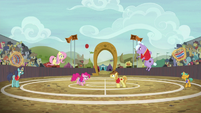 Ponyville vs. Appleloosa in buckball S6E18