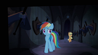 Rainbow Dash and Applejack walking through Hall of Hooves S4E03