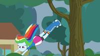 Rainbow Dash leaping into a bush EG3