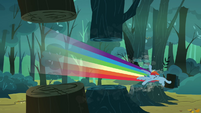 Rainbow Dash slicing through trees S3E6