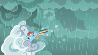 Rainbow flying down with a cloud S8E25