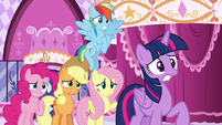Rarity's friends looking nervous; Fluttershy --But—-- S6E9