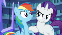 Rarity nudging Rainbow Dash S5E21