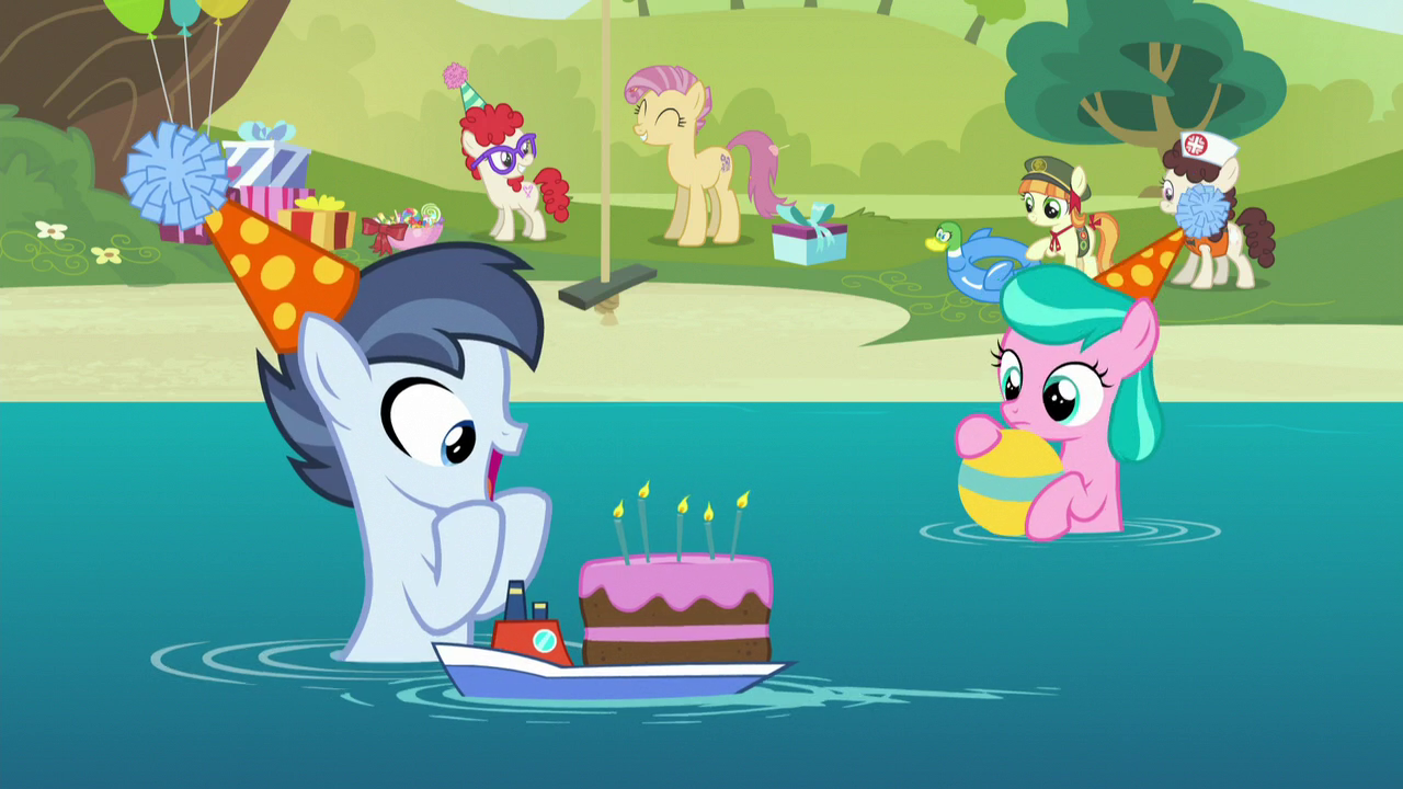 Image Shady Daze gets a birthday cake S5E19png My Little Pony