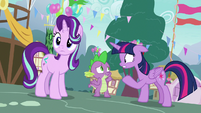 Spike shrugging with embarrassment S7E15