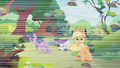 Swarm flying past Twilight, Rarity and Applejack S01E10.png