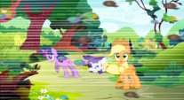 Swarm flying past Twilight, Rarity and Applejack S01E10